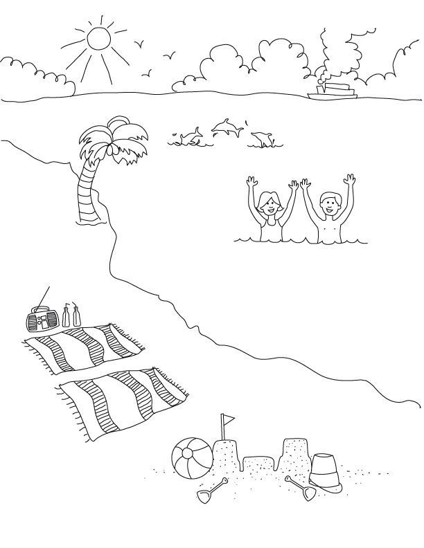 Printable Coloring Pages Beach Scenes Summertime Make And Takes