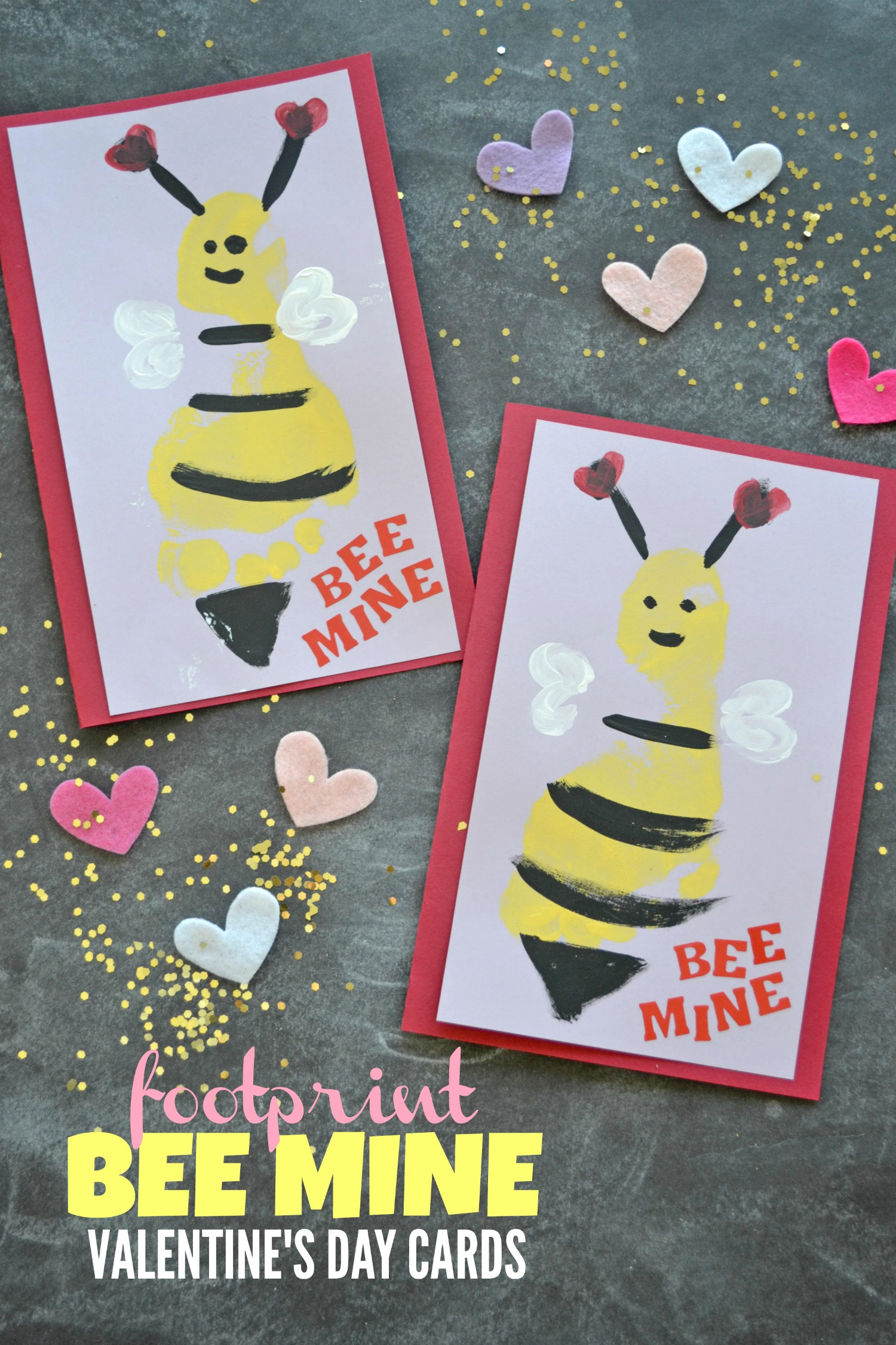 footprint bee mine valentine's day cards  make and takes