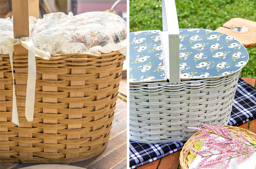 a before and after photo of an ordinary basket being turned into a picnic basket