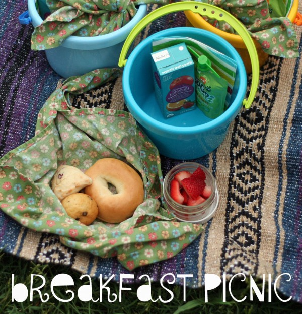 Breakfast picnic for kids (packed in buckets!)