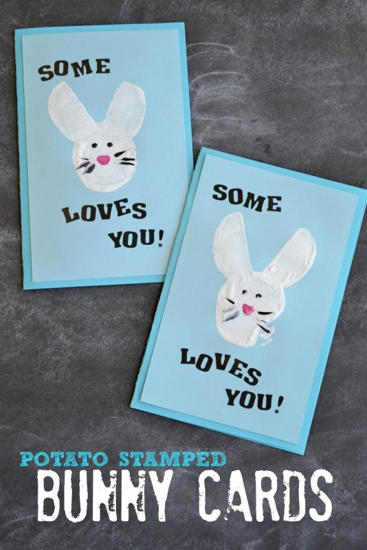 Potato Stamped Bunny Card Easter crafts