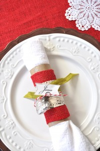 burlap christmas napkin ring place card tutorial idea
