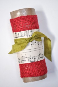burlap sheet music napkin ring tutorial