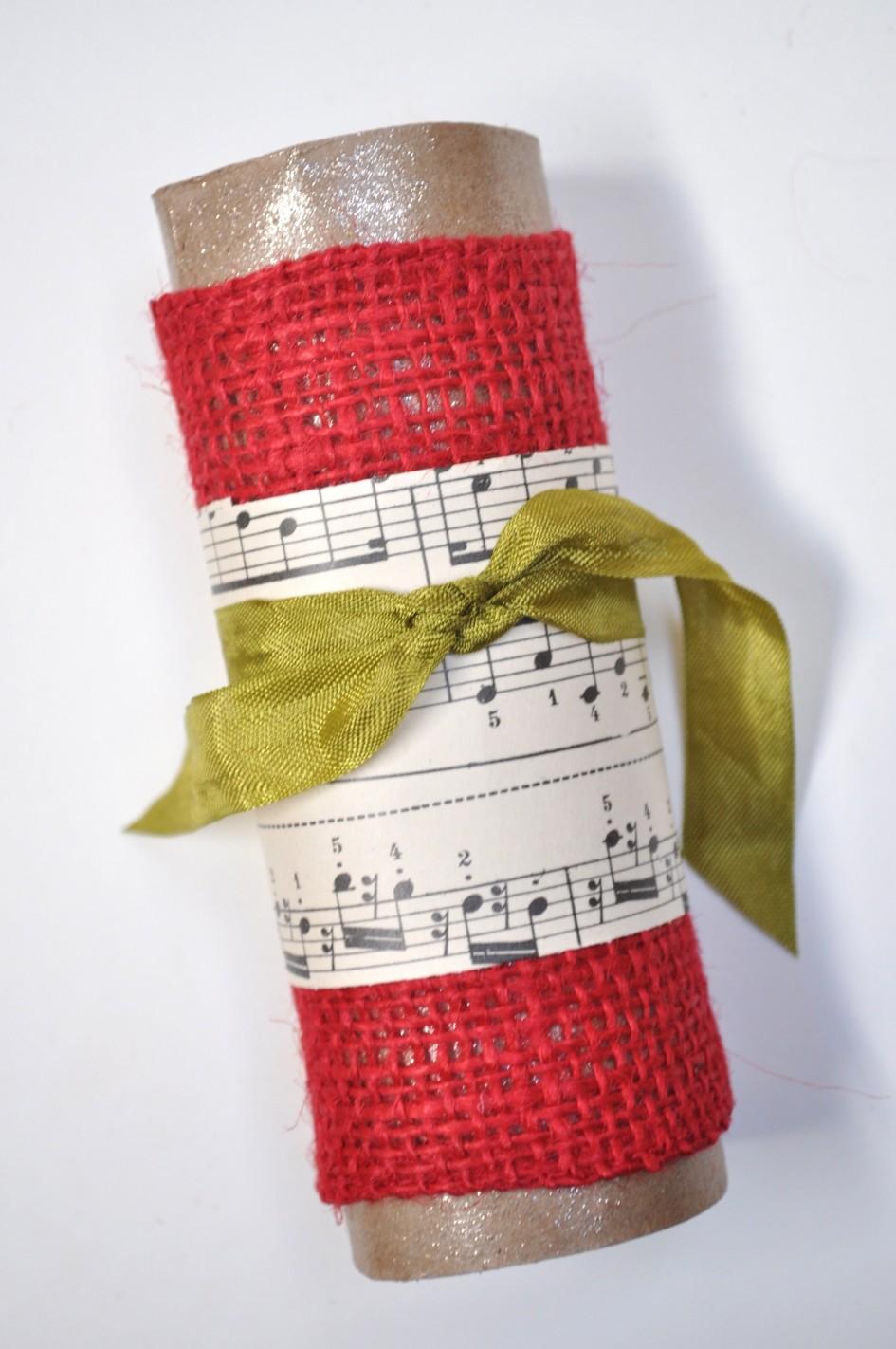 burlap sheet music napkin ring tutorial