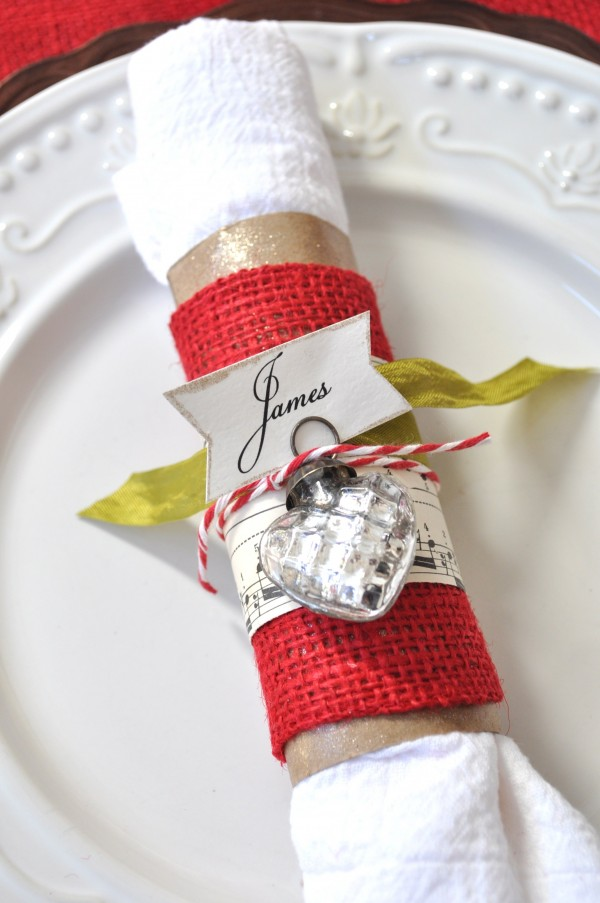 burlap sheet music toilet paper roll napkin ring idea