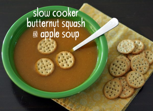 Kid-friendly slow cooker butternut squash and apple soup