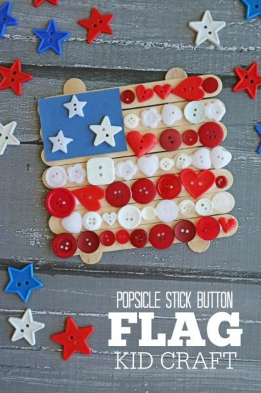 Popsicle Stick Button Flag Craft