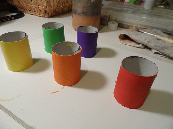 Painting Cardboard Tube Ghouls for Halloween