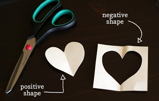 Postive/negative heart shape stencils