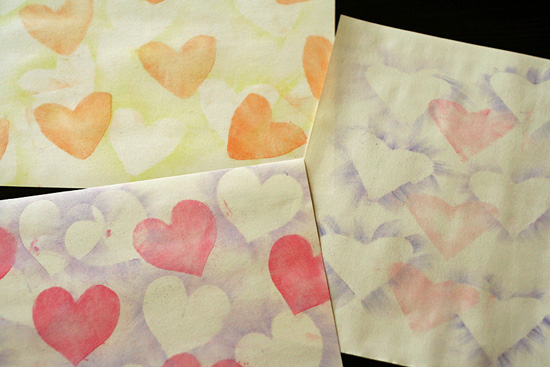 Chalk Pastel Hearts art project for kids
