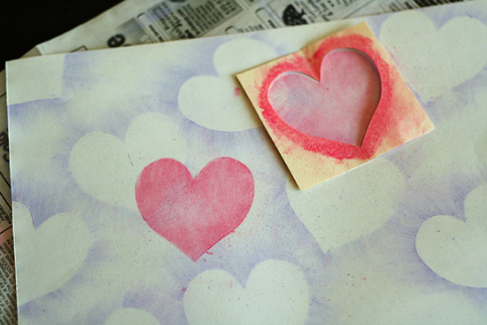 Chalk pastel hearts art project