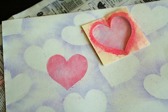 Chalk pastel hearts art project