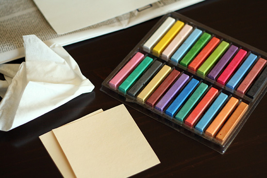 Supplies for chalk pastel hearts