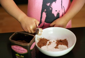 Making chocolate yogurt dip