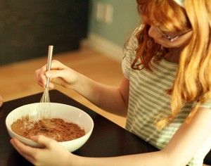 Mixing chocolate yogurt dip