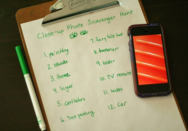 Close-up photo scavenger hunt recording sheet