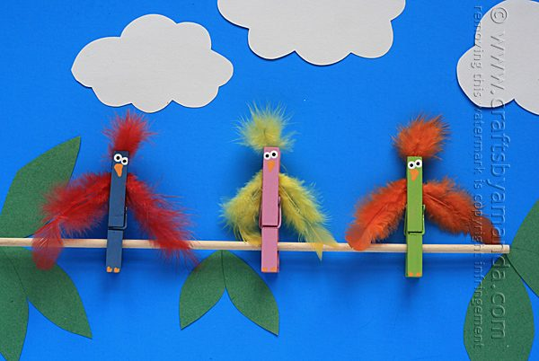 Birds on a Branch Clothespin Craft