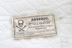 coffee dyed halloween labels poison