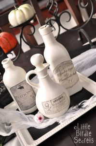 coffee dyed potion bottles labels halloween