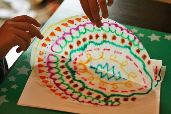 Coffee filter symmetry art for kids