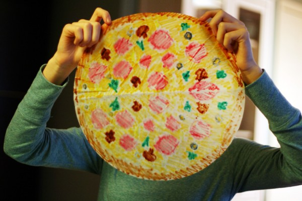 Coffee filter pizza art