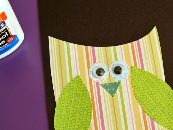 Paper collage owl with googly eyes