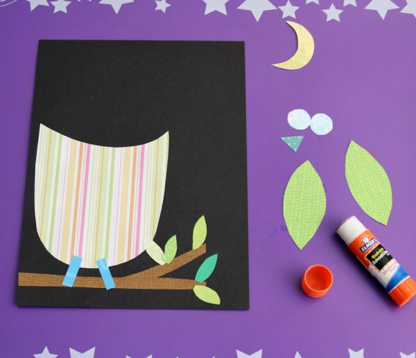 Colorful owl with patterned paper