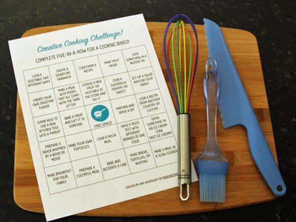 Cooking challenge bingo for kids