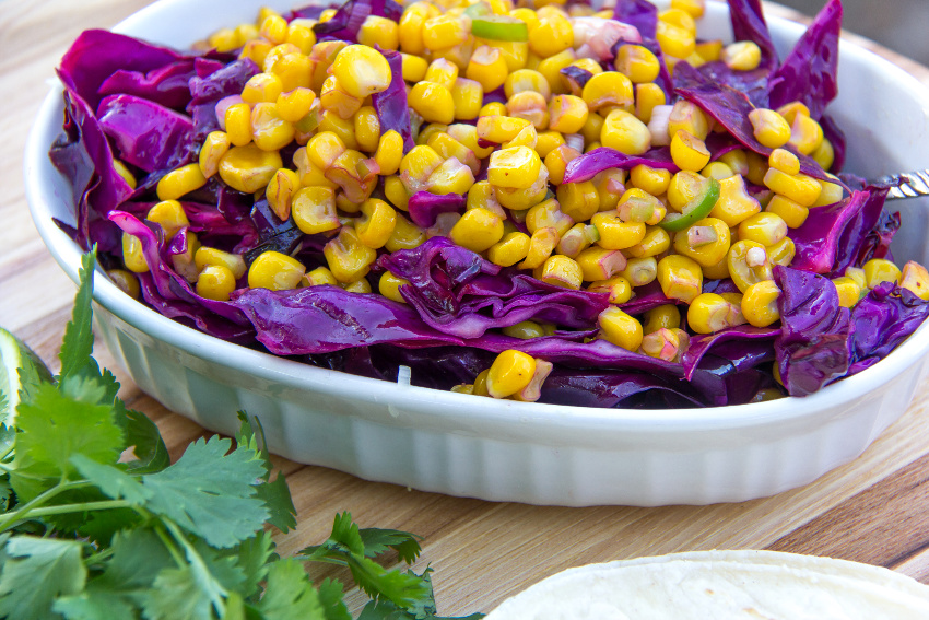 red cabbage and corn slaw