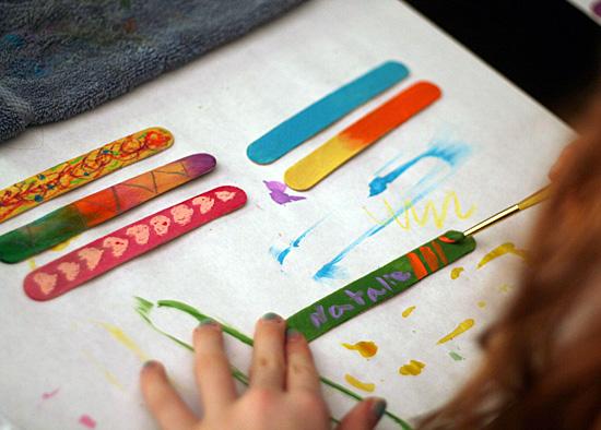 Painting wood craft sticks