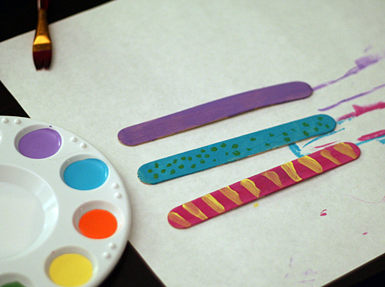 Craft sticks and acrylic paint