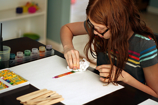 Painting craft sticks with watercolors