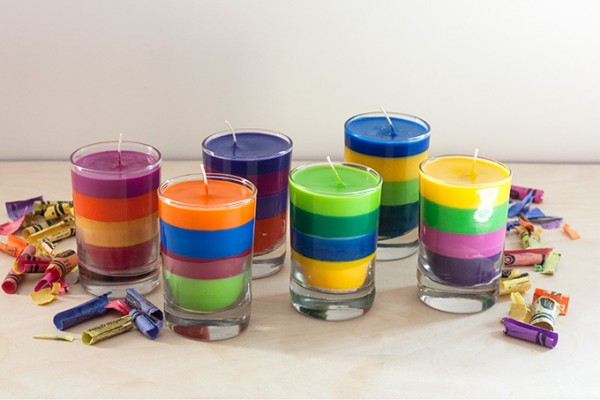 Striped Crayon Candles