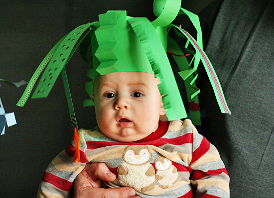 Crazy paper hat for baby