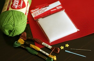 Supplies for Cross Stitch Tree Craft