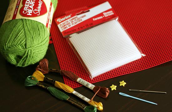 Supplies for Cross Stitch Tree Craft