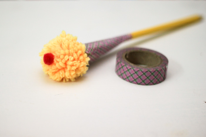 decorate a pom pom ice cream craft