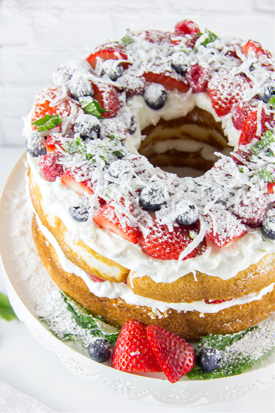 an angel food cake decorated for the 4th of July