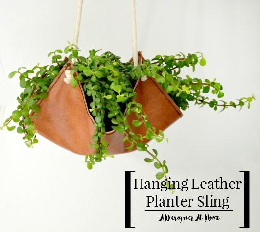 Leather Sling Hanging Planter