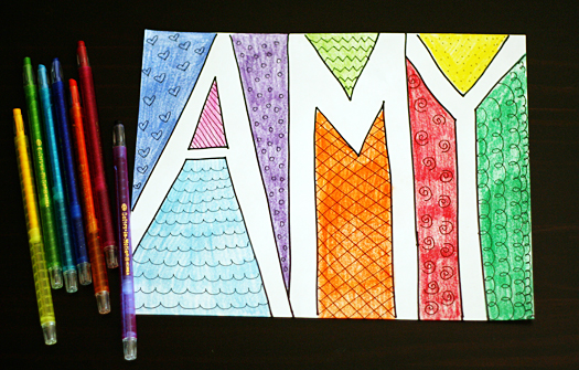 doodle names drawing activity for kids