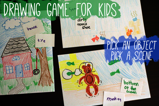 Drawing Game for Kids: Pick an Object, Pick a Scene | Make and Takes