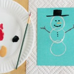 Paper Tube Snowman Stamps