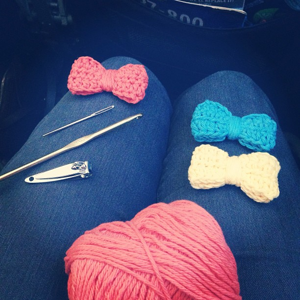 Crocheting lots of hair bows