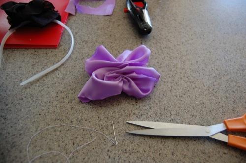 DIY Fabric Flower Headband sewing