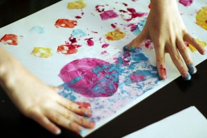 Painting with pieces of fabric