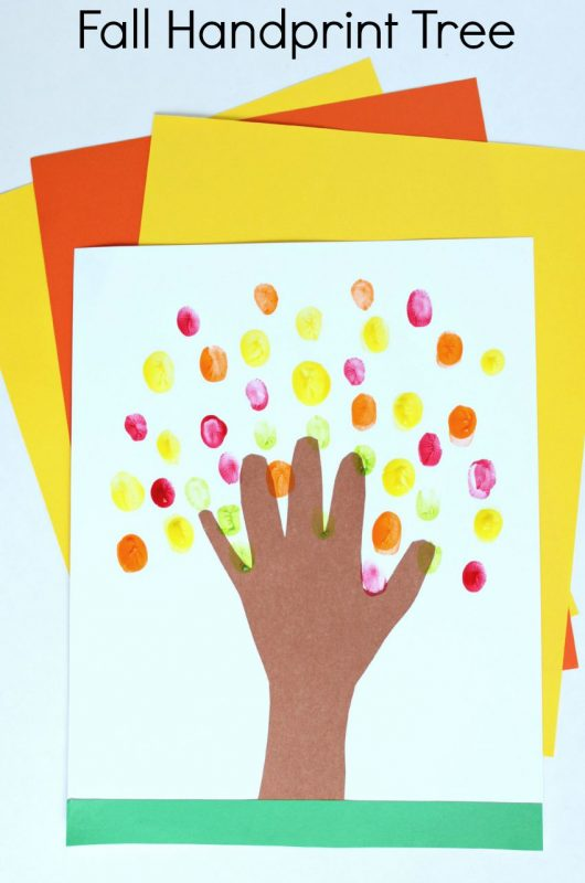 fall handprint and fingerprint craft for kids