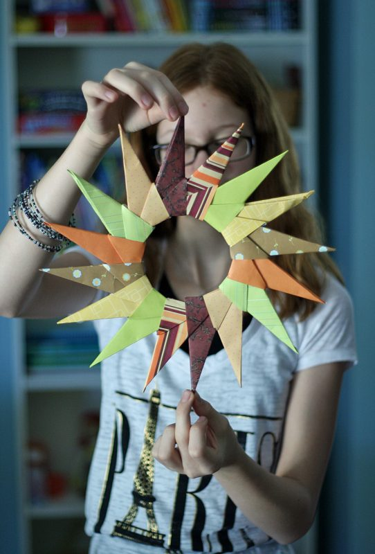 Origami starburst wreath make and takes for Christmas crafts for older kids