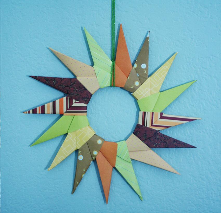 origami starburst wreath make and takes