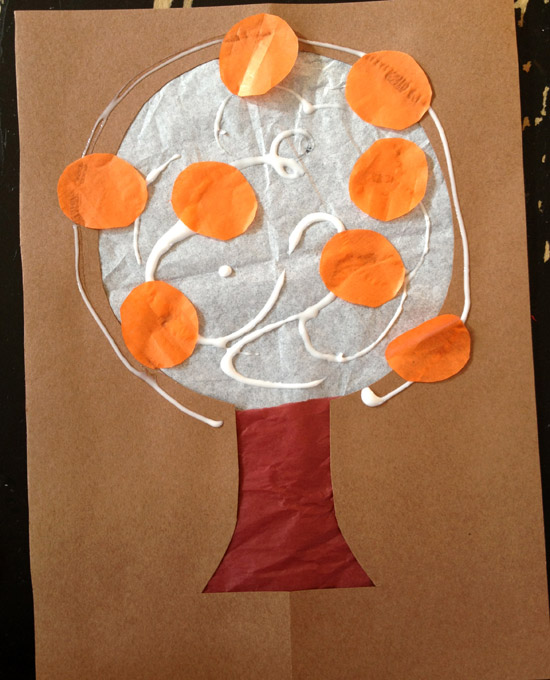 stained glass tissue paper fall tree