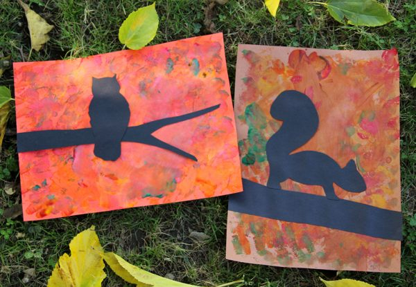Fall tree silhouette art project